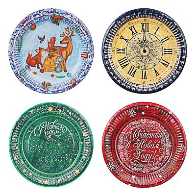 Набор бумажных тарелок 6шт, d18см, 4 дизайна - фото товара