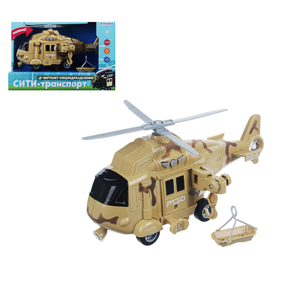 ИГРОЛЕНД Вертолет спец.подразделений, ABS, 3хLR44, свет, звук, инерция, 24x10,5x15,5см, 5 дизайнов - фото товара