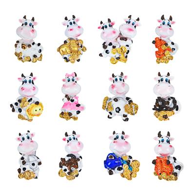 СНОУ БУМ Магнит в форме коровы со знаками зодиака Символ Года 2021, 4х5см, полистоун, 12 дизайнов - фото товара