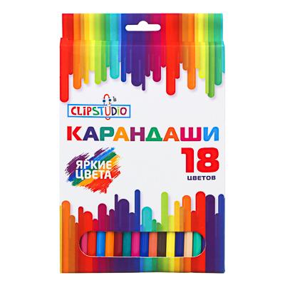 ClipStudio Карандаши 18 цветов шестигранные заточ., пластик, улучшенное письмо, в карт.коробке - фото товара