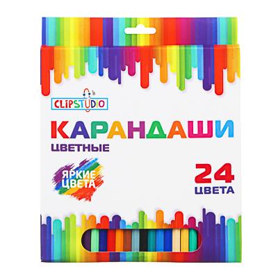 ClipStudio Карандаши 24 цвета шестигранные заточ., пластик, улучшенное письмо, в карт.коробке - фото товара