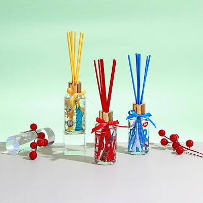 LADECOR Аромадиффузор с цветными палочками, Путешествия, 50 мл Свежесть хлопка/Гардения/Имбирный чай - фото товара