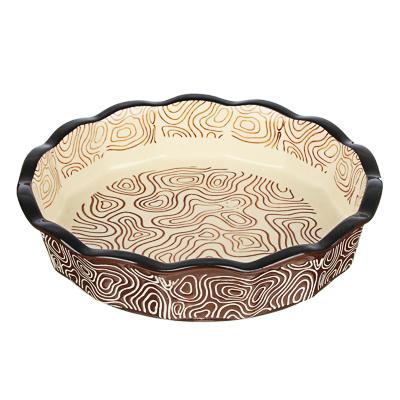 MILLIMI Форма для запекания и сервировки круглая, керамика, 22х4,5см, шоколад - фото товара