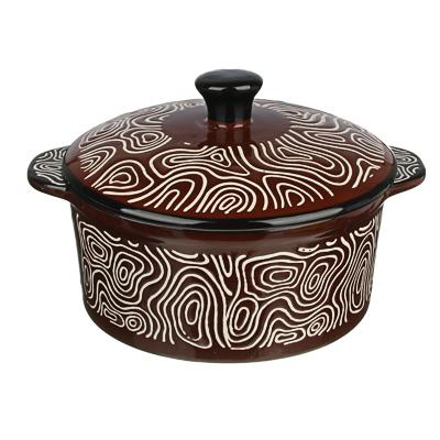 MILLIMI Горшочек с крышкой для запекания и сервировки, керамика, 16,5х13,5х10см, 480мл, шоколад - фото товара
