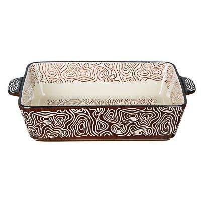 MILLIMI Форма для запекания и сервировки прямоугольная с ручками, керамика, 27,5х17,5х6см, шоколад - фото товара