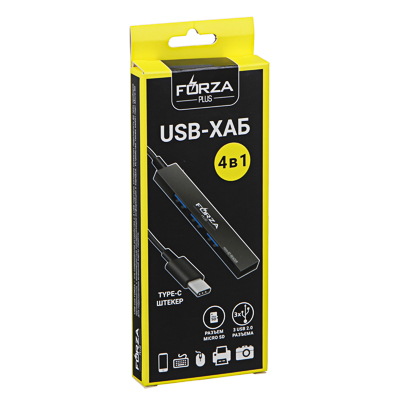 FORZA USB-хаб 4 в 1, 3xUSB 2.0, 1xMicro-SD, штекер Type-C, корпус металлик, пластик - фото товара