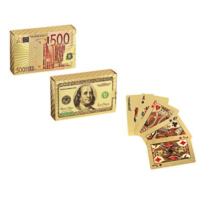 LADECOR Карты сувенирные игральные  Золотые  54 карты, пластик, 2 дизайна (513-598, 513-600) - фото товара