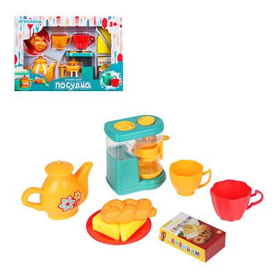 ИГРОЛЕНД Игровой набор Посудка, пластик, 9-11 пр., 35х24х7 см, 3 дизайна - фото товара