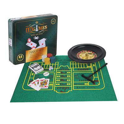 LDGames Набор игр 5в1 (блэкджек, покер, крепс, рулетка, покер на костях) 7,25х32х28см, в метал.короб - фото товара
