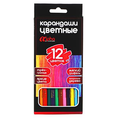 ClipStudio Карандаши 12 цветов  Альфа  3-гранные заточ., дерево, 2М, улучш.прокрас, к/к, ПРЕМИУМ - фото товара