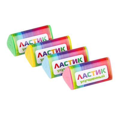 ClipStudio Ластик трехгранный, 3,5х1,8х1,8см, в держателе, улучшенное стирание, ТПР, 4 цвета - фото товара