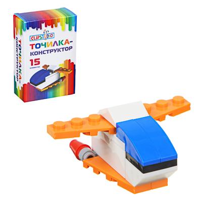 ClipStudio Точилка-конструктор в форме космического корабля, 15 дет, пластик, 9х6х3см, к/к, 2 цвета - фото товара