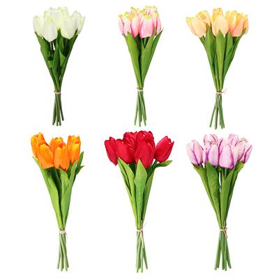 LADECOR Букет тюльпанов, 35см, пластик, полиэстер, 7 цветков, 6 цветов - фото товара
