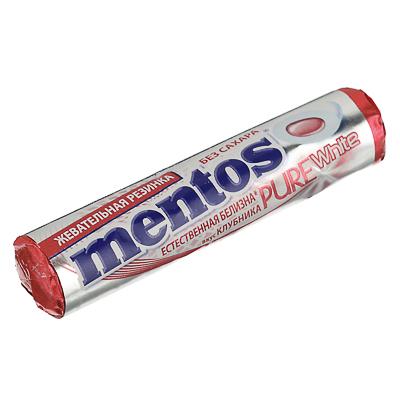 Жевательная резинка Ментос Пьюр Вайт ролл, клубника, 15,5г, 8253708/8253995 - фото товара