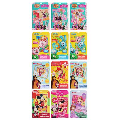 Аппликация пайетками  Любимые герои  пластик, картон, 33,5х21,6см, 12 дизайнов - фото товара