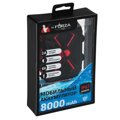 FORZA Аккумулятор мобильный 8000мАч, прорезин.,с пылевлагозащ. IP67, 2А, 1USB, фонарь,пластик - фото товара