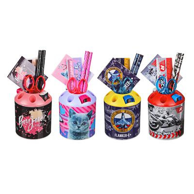 Набор канц.в стакане, 8 предметов: линейка,2карандаша, точилка, ластик, ножницы, блокнот, 4 дизайна - фото товара