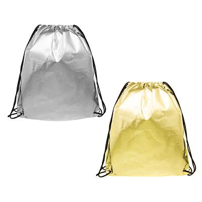 Мешок для сменной обуви на завязках, 34,8x41,5см, материал с эффектом  металлик , 2 цвета - фото товара