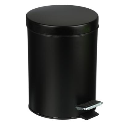 SonWelle Ведро с педалью для ванной комнаты, 5л, металл, черный - фото товара