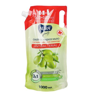 Мыло жидкое AURA с антибактериальным эффектом,семейное, дой-пак,1л - фото товара