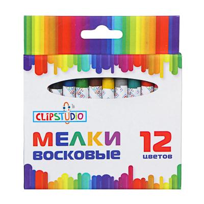 ClipStudio Мелки восковые 12 цветов, 7,8см, на органической основе, в картонной коробке с подвесом - фото товара