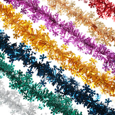 СНОУ БУМ Мишура с резными снежинками, 200х11см, ПВХ, 7 цветов - фото товара