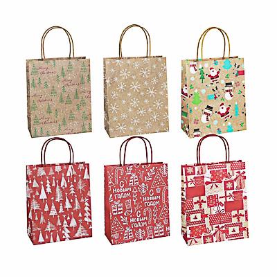 СНОУ БУМ Пакет подарочный крафт, 21x25,5x10см, бумага высокого качества, 6 дизайнов, арт.2022-8 - фото товара