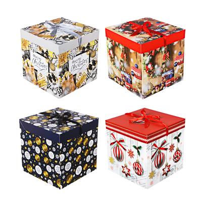 СНОУ БУМ Коробка подарочная, складная, бумага, 25х25х25см, 4 дизайна - фото товара