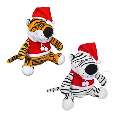 СНОУ БУМ Сувенир мягкий Тигр Санта, полиэстер, 20x18x13см, 2 цвета - фото товара