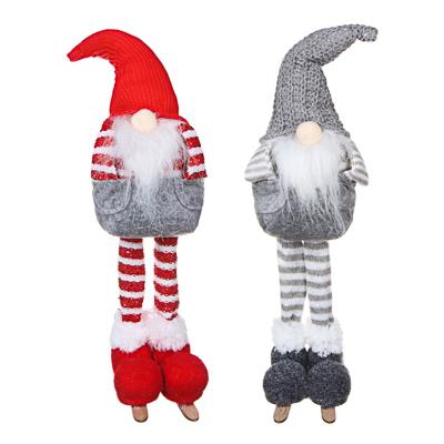 СНОУ БУМ Сувенир мягкий, полиэстер, в виде гнома на длинных ногах, 43см, 2 цвета - фото товара