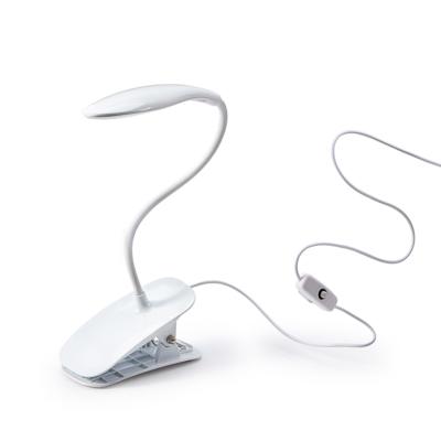 FORZA Лампа настольная, 14 LED, питание USB, с зажимом, кабель 1.5м, 600Lux, белая, пластик - фото товара