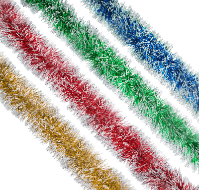 СНОУ БУМ Мишура с белыми кончиками, 9,6х200см, ПВХ, 4 цвета - фото товара
