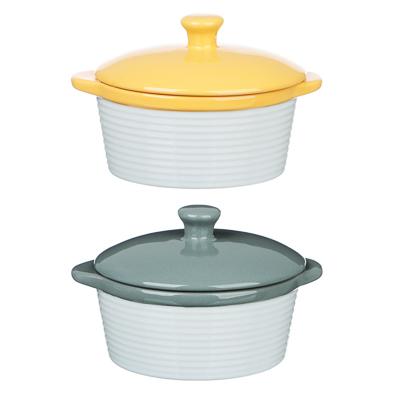 MILLIMI Горшочек с крышкой для запекания и сервировки, керамика, 16,5х13,5х10,5см,480мл, рельеф,2 цв - фото товара