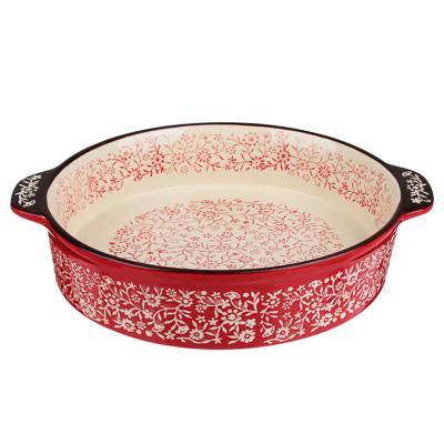 MILLIMI Форма для запекания и сервировки круглая с ручками, керамика, 29,5х25,5х6см, красный - фото товара