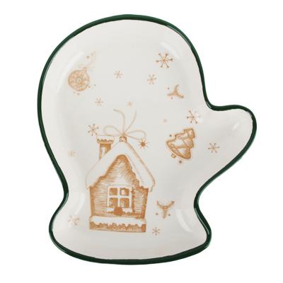MILLIMI Пряничный домик Блюдо в форме варежки 20х17,5х3см, керамика - фото товара