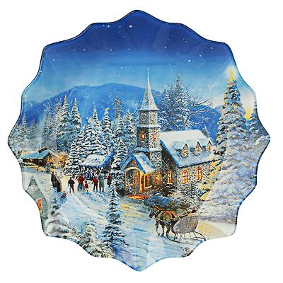 Зимний пейзаж Блюдо круглое 20х2см, стекло - фото товара