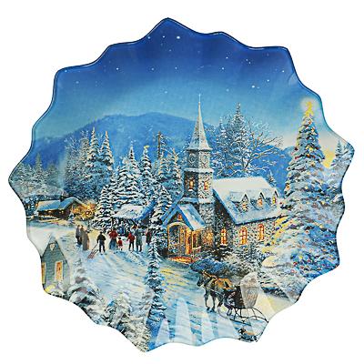 Зимний пейзаж Блюдо круглое 25х2см, стекло - фото товара