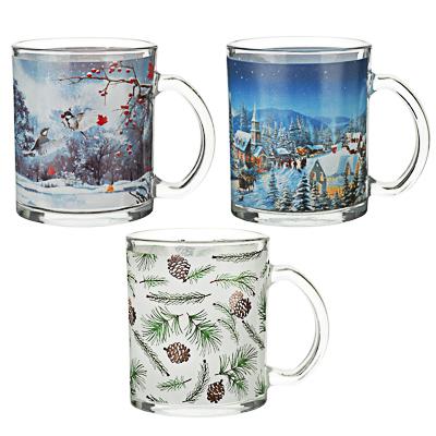 Зимушка-зима Кружка 320мл, стекло, 3 дизайна - фото товара
