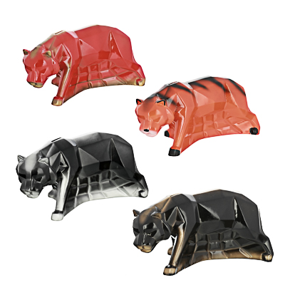 СНОУ БУМ Копилка-оригами в виде тигра, 29х14х14см, перламутр, бронза, 4 дизайна - фото товара