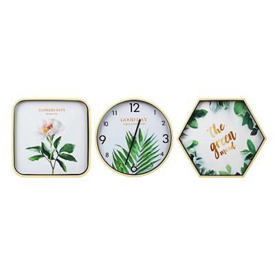 Часы настенные 30см с панно 30х30см и 34х39см, пластик, арт.1 - фото товара