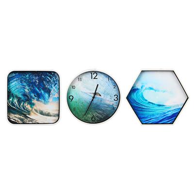 Часы настенные 30см с панно 30х30см и 34х39см, пластик, арт.3 - фото товара