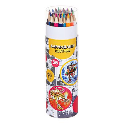 BY Карандаши цветные, 36 цветов, 6-гранные заточ., в круглом картоном пенале, 18,5х5,3см, дерево - фото товара