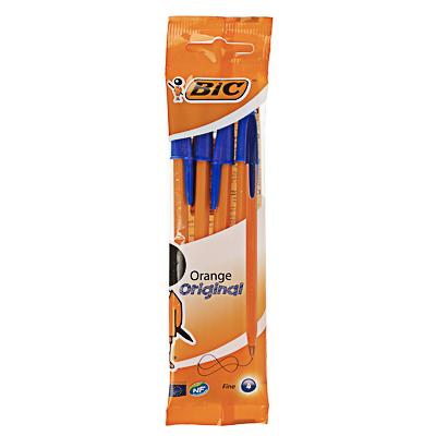 BIC Набор ручек шариковых синих  Оранж Ориджинал Файн , 4 шт., 0,3мм, пластик, пакет, 8308521 - фото товара