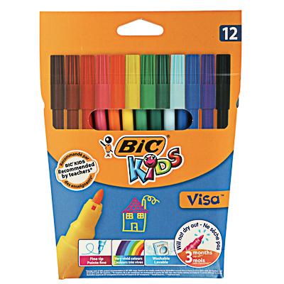 BIC Фломастеры 12 цветов  Виза , яркие цвета, смываемые, пластик, 888695 - фото товара