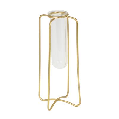 Ваза-колба в рамке, 6х6х17см, стекло, металл - фото товара