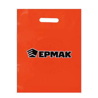 ЕРМАК Пакет подарочный ПВД с вырубной ручкой, с принтом, цвет оранжевый - фото товара