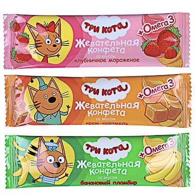 Жевательная конфета  ТРИ КОТА  с омега-3, 11г - фото товара