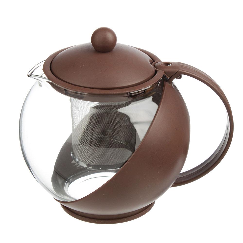 Чайник заварочный с сеточкой 1250 мл, стекло/пластик, 3 цвета