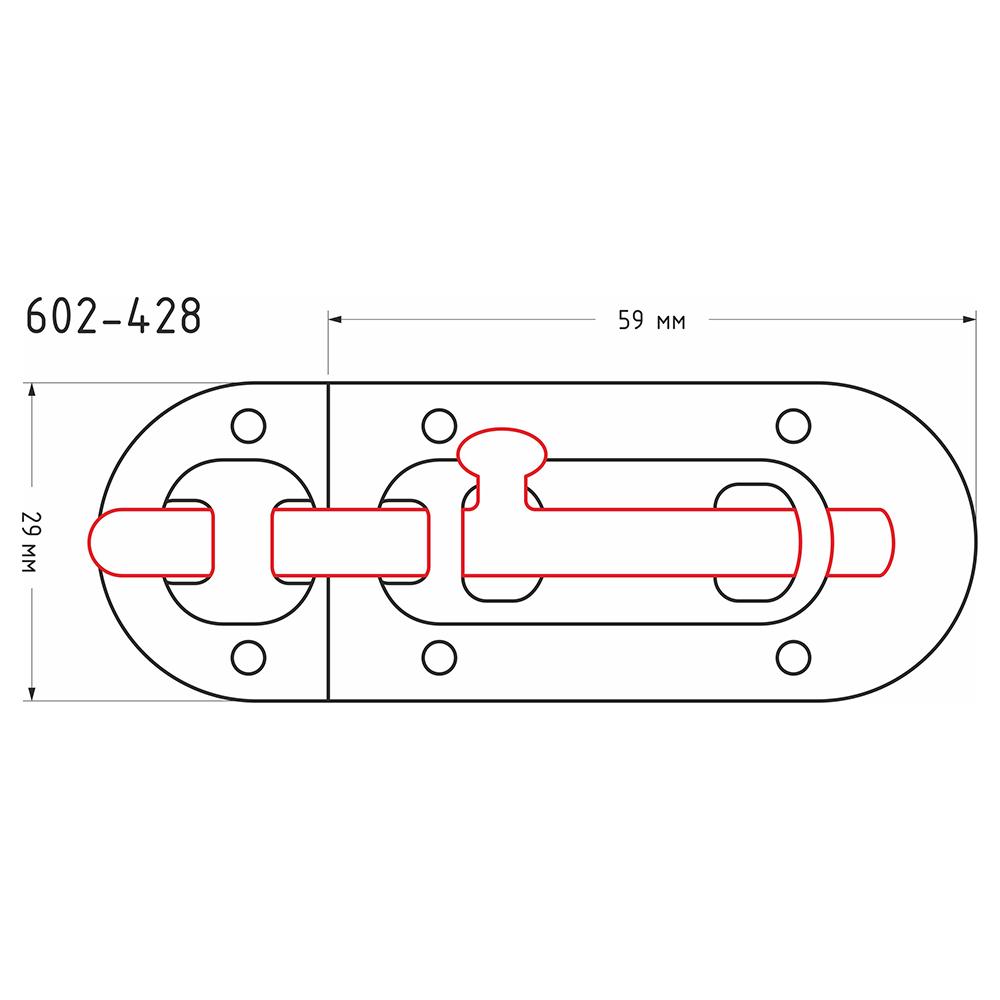 Шпингалет, сталь 59х29мм, хром