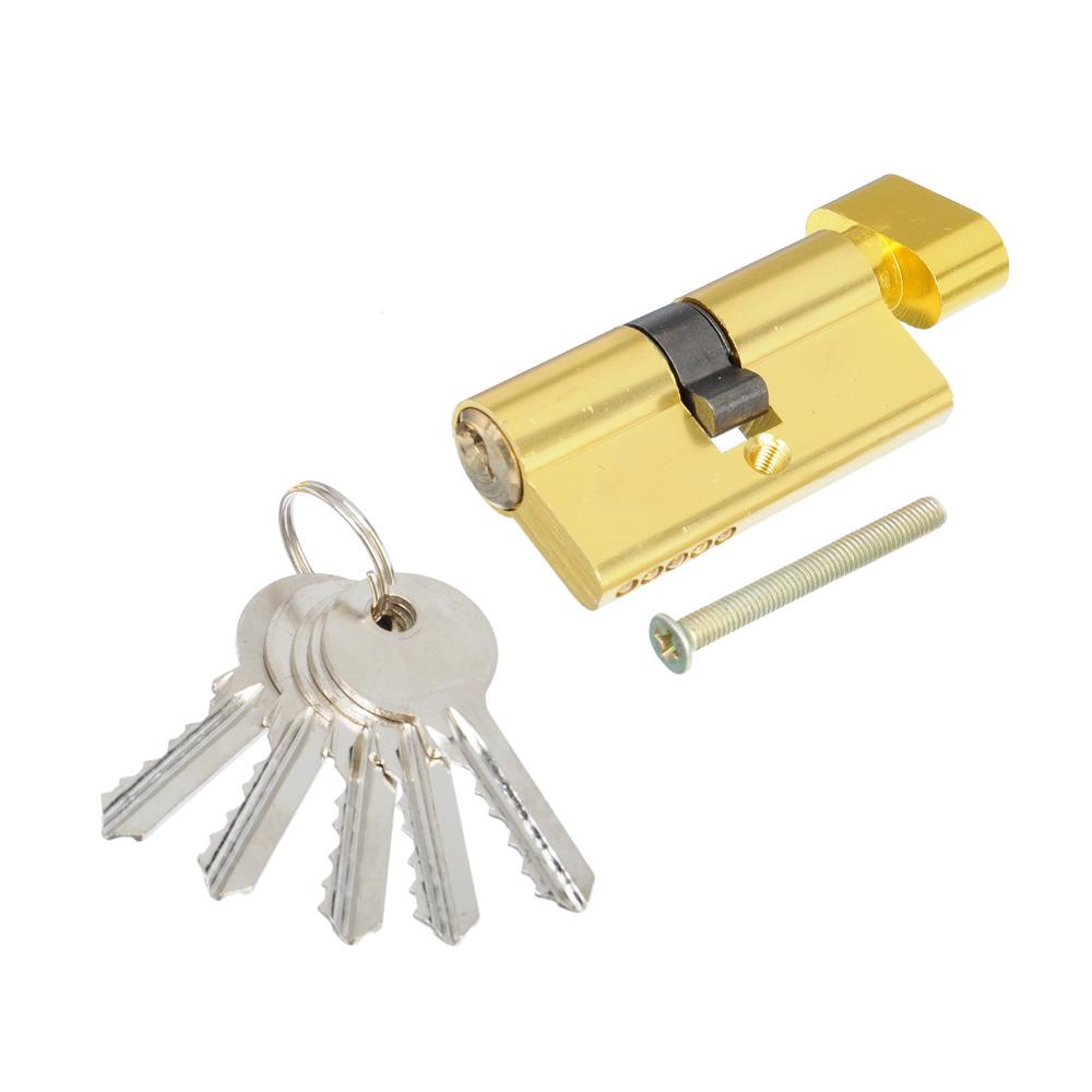 Сердцевина замка/ Цилиндровый механизм (алюминий/латунь) 60мм(30+30), кл-верт, 5кл (англ), золото